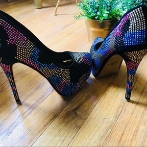 NWOT Multi-colored Rhinestone Showstopper Heels